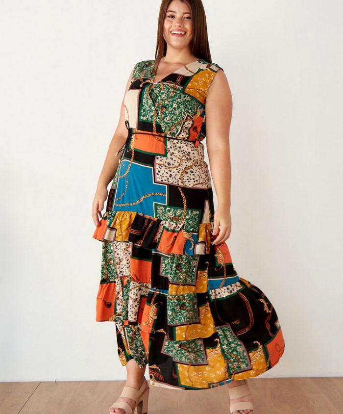 Maxi Vestido Talla Grande Estampado Cadenas