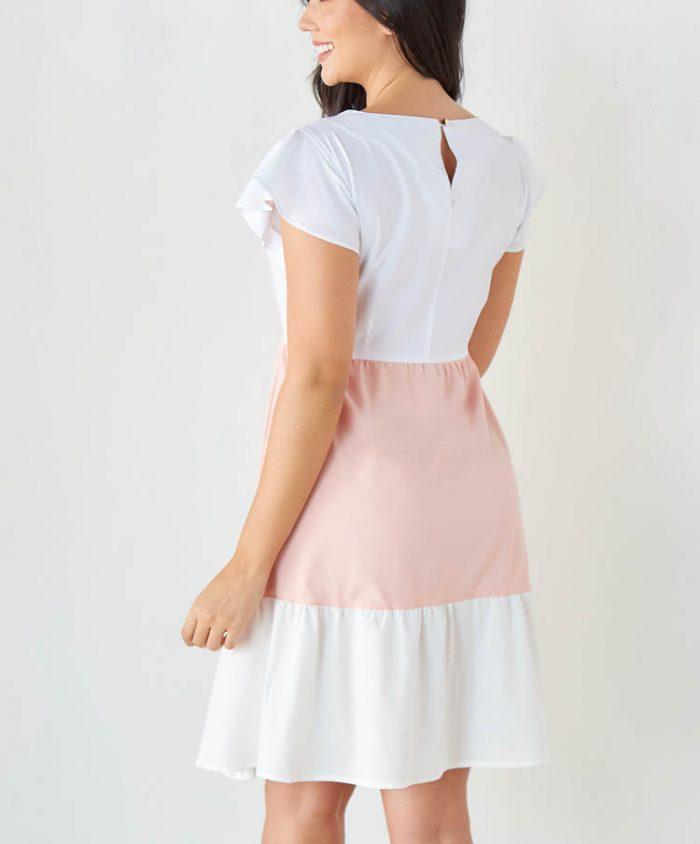 Vestido Bloques de Color Manga Corta